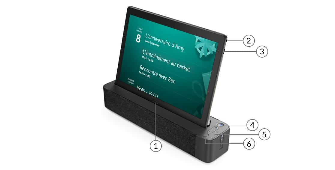 Lenovo Smart Tab M10 avec ses ports